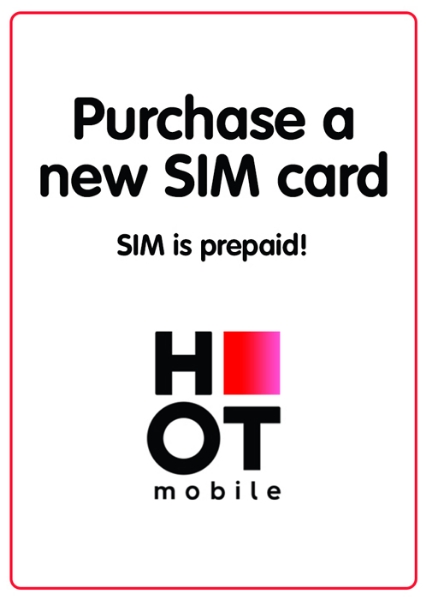 "Picture of Purchase new prepaid ""Hot Mobile"" local SIM card starting at"